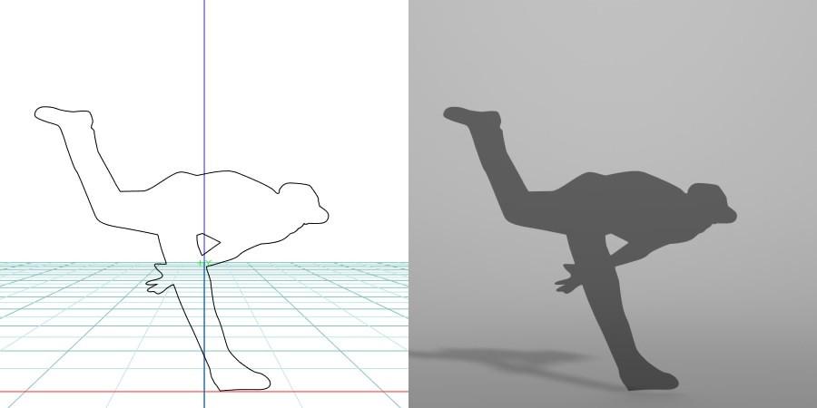 formZ 3D シルエット silhouette 男性 man スポーツ sport 野球 ベース ボール base ball