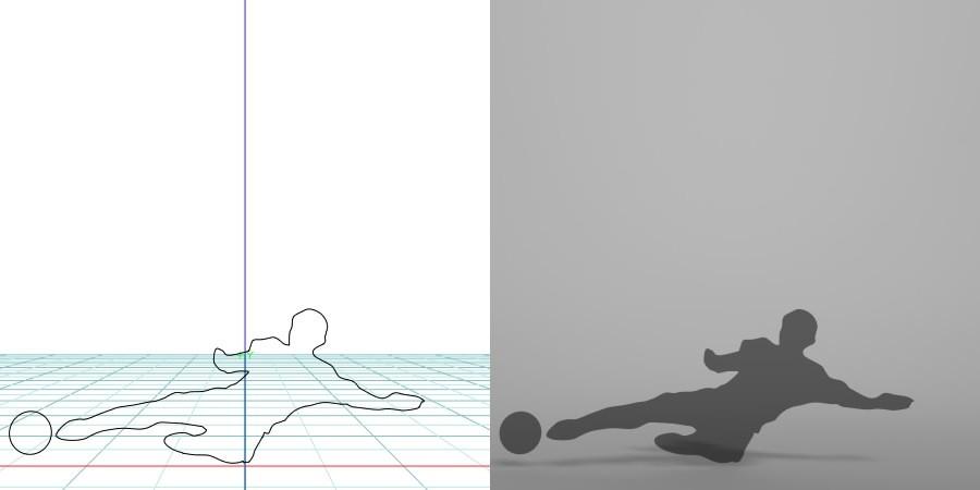formZ 3D シルエット silhouette 男性 man スポーツ sport サッカー soccer football 蹴球