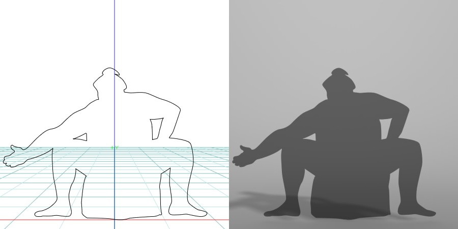 formZ 3D シルエット silhouette 男性 man スポーツ sport 相撲 sumo sumo-wrestling 力士 相撲取り お相撲さん sumo-wrestler