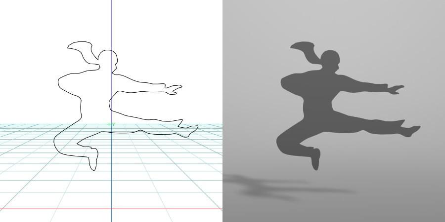 formZ 3D シルエット silhouette 女性 woman female lady ジャンプキック 格闘技