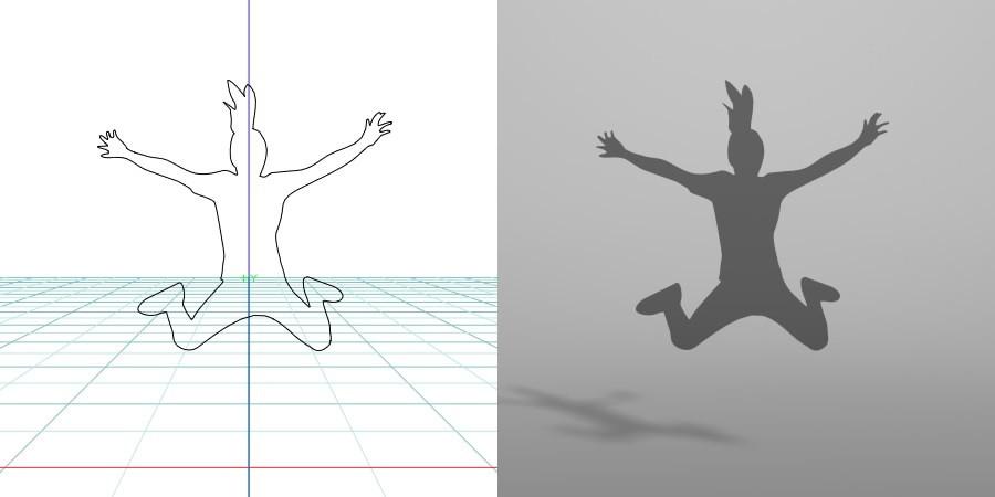 formZ 3D シルエット silhouette 女性 woman female lady ジャンプ 飛び跳ねる jump