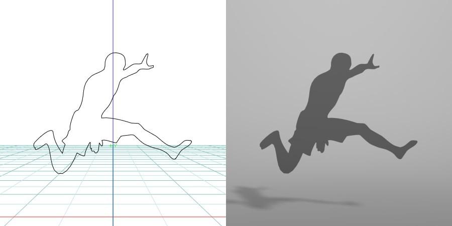 formZ 3D シルエット silhouette 男性 man スポーツ sport 走る run ジャンプ jump