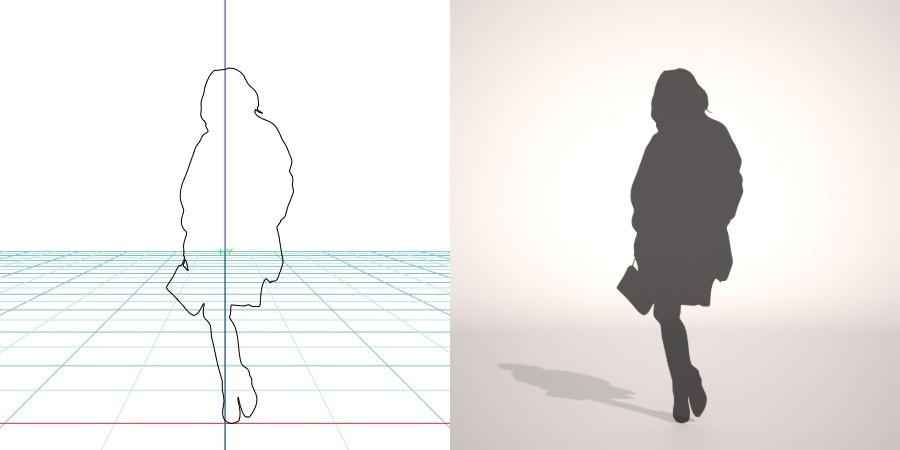 formZ 3D シルエット silhouette 女性 woman female lady スカート skirt 鞄 bag
