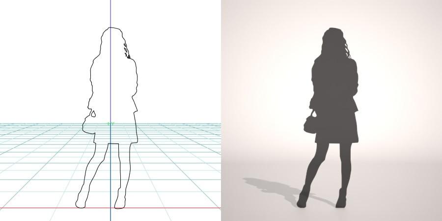 formZ 3D シルエット silhouette 女性 woman female lady スカート skirt バッグ 鞄 カバン bag
