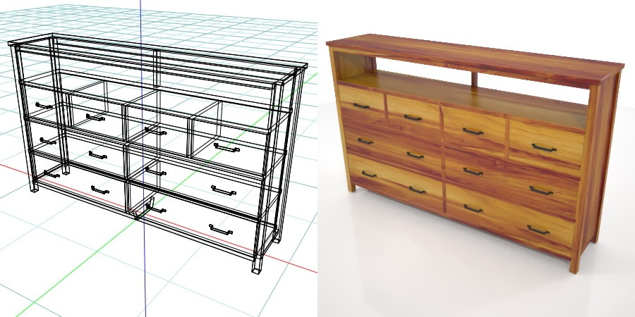 formZ 3D インテリア interior 家具 furniture 棚 ラック rack shelf キャビネット cabinet 飾り棚 リビングボード living