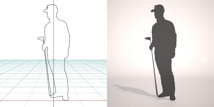 formZ 3D シルエット silhouette 男性 man ゴルフ ゴルフクラブ golf