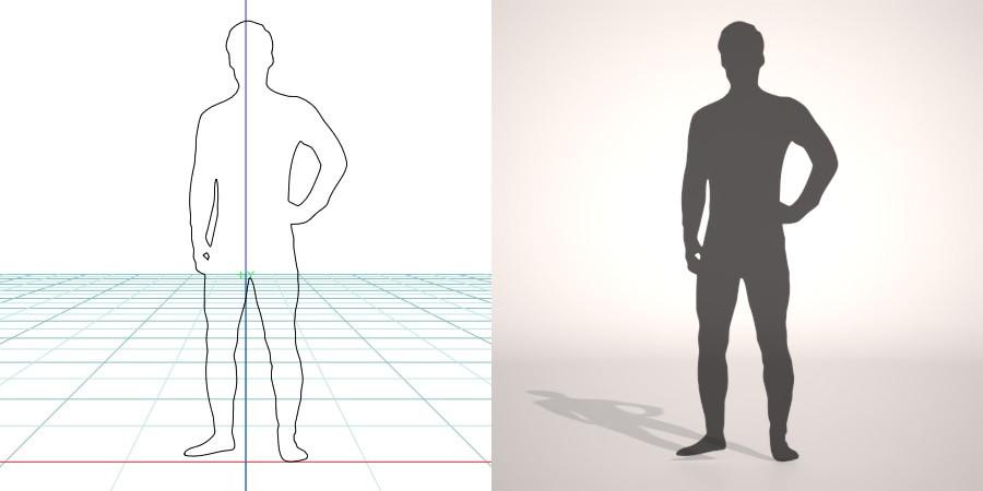 formZ 3D シルエット silhouette 男性 man 全身タイツ tights