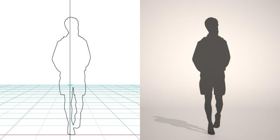 formZ 3D シルエット silhouette 男性 man 短パン ハーフパンツ shorts
