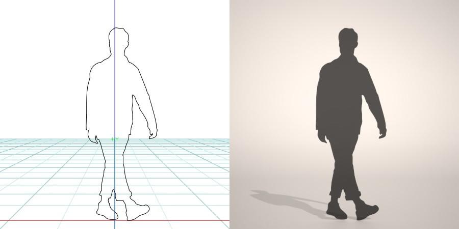 formZ 3D シルエット silhouette 男性 man 歩く walk スニーカー sneakers