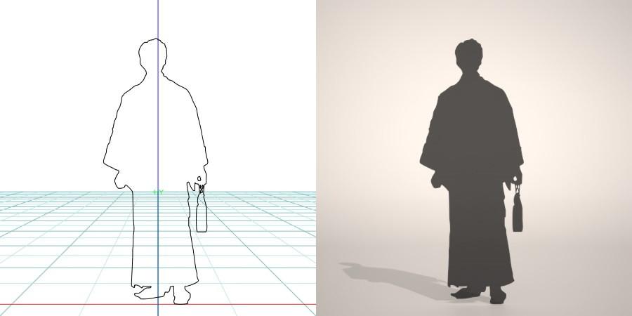 formZ 3D シルエット silhouette 男性 man 着物 羽織 日本 和服 雪駄 草履