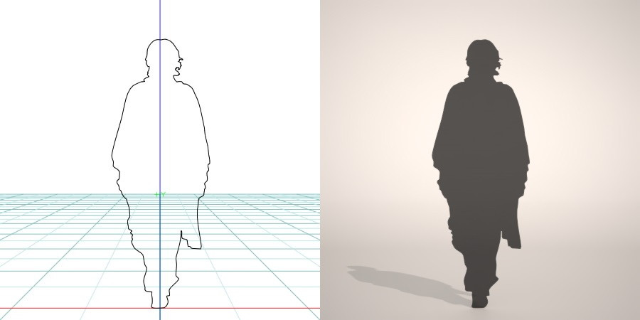 formZ 3D シルエット silhouette 男性 man 着物 羽織 日本 和服 雪駄 草履 歩く walk
