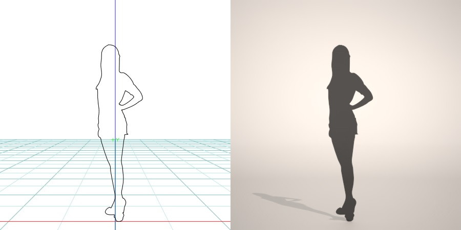 formZ 3D シルエット silhouette 女性 woman female lady ミニスカート skirt