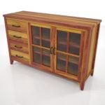 【家具】茶色の木目のカップボード【formZ】 cabinet_0005