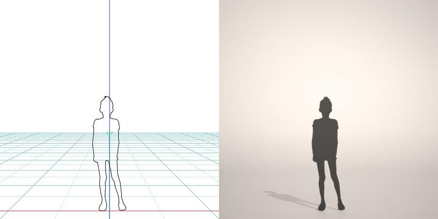 formZ 3D シルエット silhouette 子供 child 少女 girl 半袖 短パン