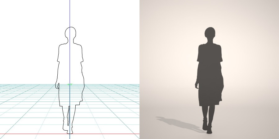 formZ 3D シルエット silhouette 女性 woman female lady ワンピース one-piece dress 歩く walk