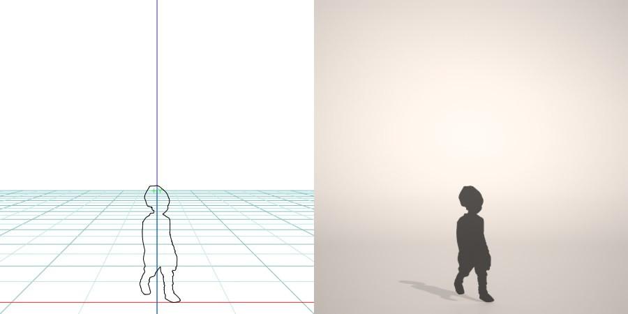formZ 3D シルエット silhouette 子供 child 少年 boy ニット帽 knit cap