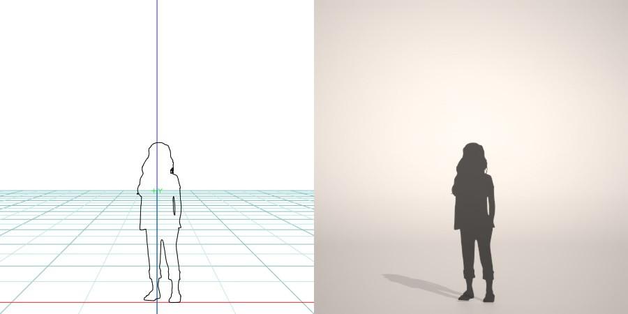 formZ 3D シルエット silhouette 子供 child 少女 girl ジーパン jeans