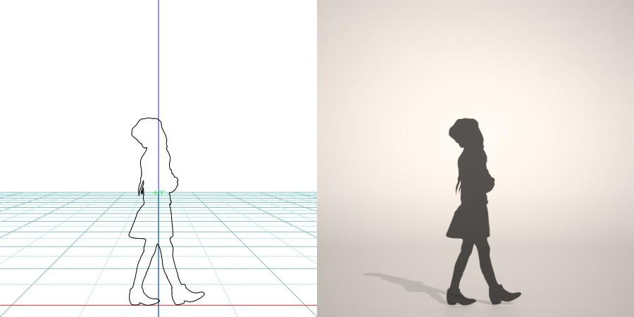 formZ 3D シルエット silhouette 子供 child 少女 girl ニット帽 knit cap スカート skirt 歩く walk