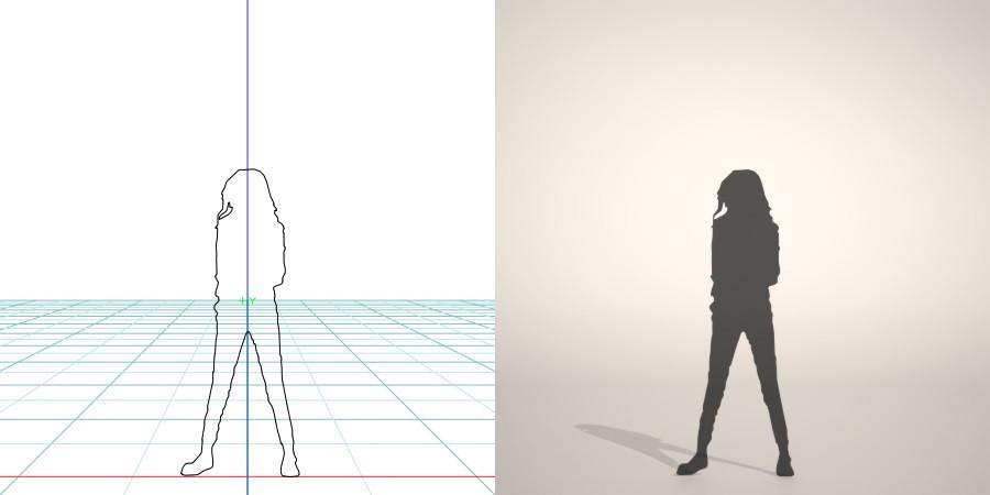 formZ 3D シルエット silhouette 子供 child 少女 girl スキニ―パンツ