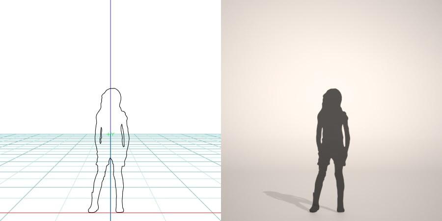 formZ 3D シルエット silhouette 子供 child 少女 girl ニット帽 knit cap