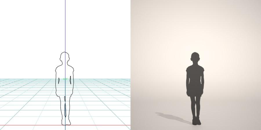 formZ 3D シルエット silhouette 子供 child 少年 boy 短パン