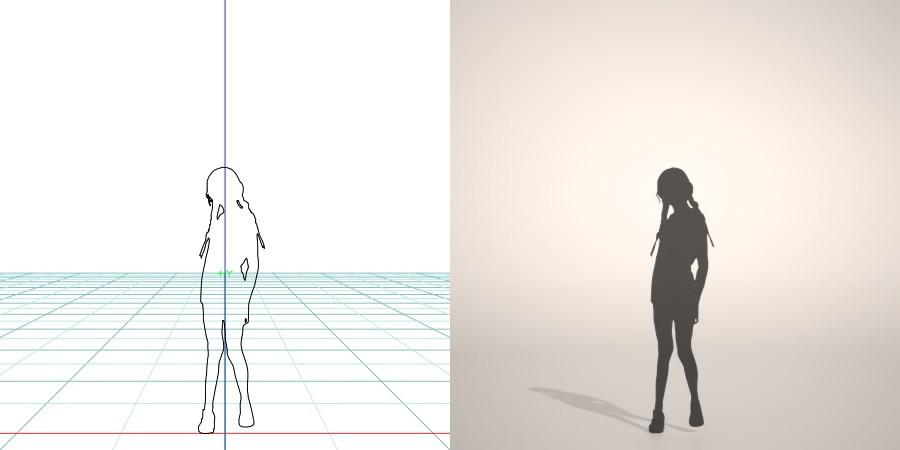 formZ 3D シルエット silhouette 子供 child 少女 girl 短パン