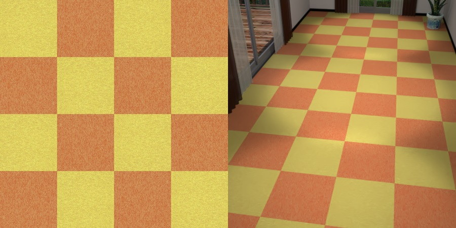 CAD,フリーデータ,2D,テクスチャー,texture,JPEG,タイルカーペット,tile,carpet,黄色,yellow,橙色,オレンジ色,orange,市松貼り,2色市松