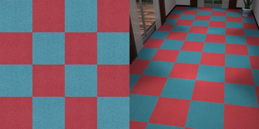 フリーデータ,2D,テクスチャー,texture,JPEG,タイルカーペット,tile,carpet,赤色,red,青色,blue,市松貼り,2色市松