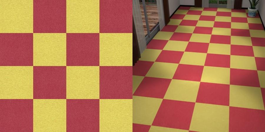 フリーデータ,2D,テクスチャー,texture,JPEG,タイルカーペット,tile,carpet,赤色,red,黄色,yellow,市松貼り,2色市松