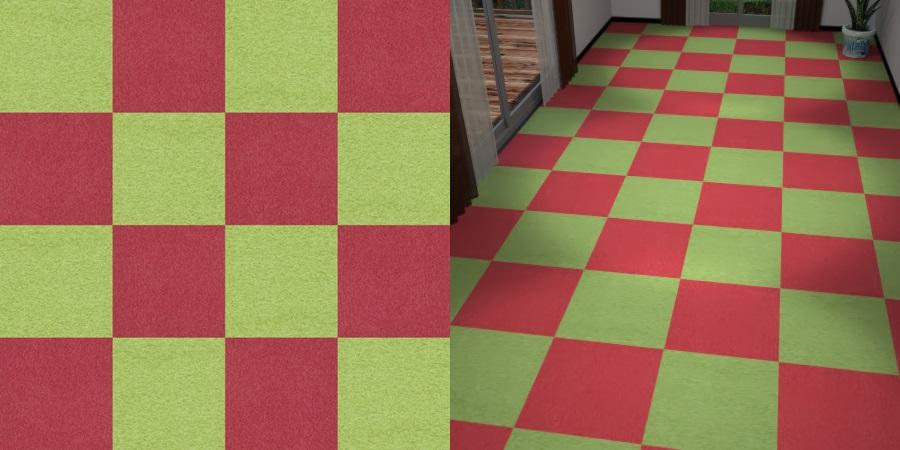 フリーデータ,2D,テクスチャー,texture,JPEG,タイルカーペット,tile,carpet,赤色,red,緑色,みどり,green,市松貼り,2色市松