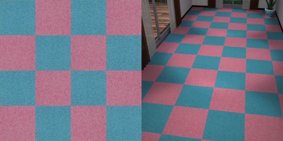 フリーデータ,2D,テクスチャー,texture,JPEG,タイルカーペット,tile,carpet,ピンク色,pink,青色,ブルー,blue,市松貼り,2色市松