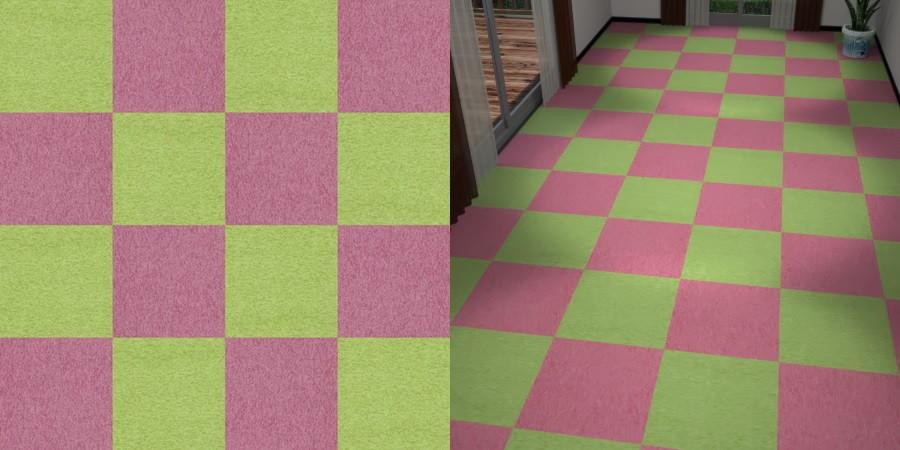 フリーデータ,2D,テクスチャー,texture,JPEG,タイルカーペット,tile,carpet,ピンク色,pink,緑色,グリーン,green,市松貼り,2色市松