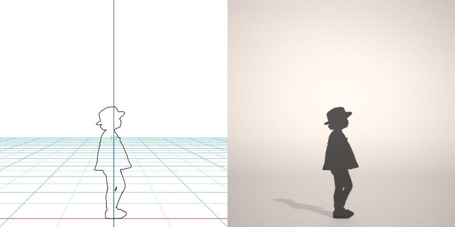 フリー素材 formZ 3D silhouette 子供 child hut 少女 girl 帽子をかぶった女の子のシルエット