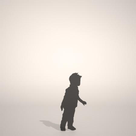 フリー素材 formZ 3D silhouette 子供 child 少年 boy ジーンズ jeans デニム denim ジーンズを穿いた男の子のシルエット