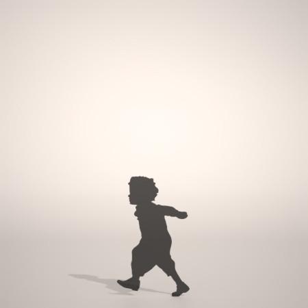フリー素材 formZ 3D silhouette 子供 child 少年 boy 幼児 走る run 走りまわる男の子のシルエット