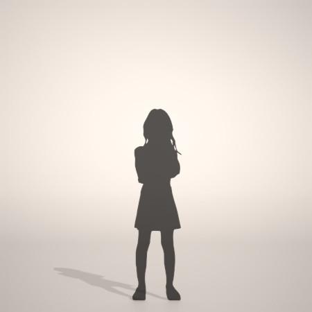 フリー素材 formZ 3D silhouette 子供 child 少女 girl 腕組み スカート skirt 腕を組んで立つ女の子のシルエット