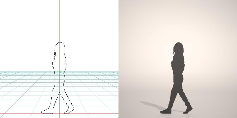 formZ 3D シルエット silhouette 子供 child 少女 girl サロペットパンツ
