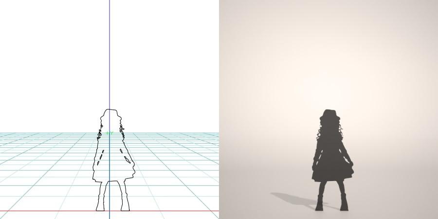 formZ 3D シルエット silhouette 子供 child 少女 girl 帽子 hut ワンピース one-piece dress スカート skirt