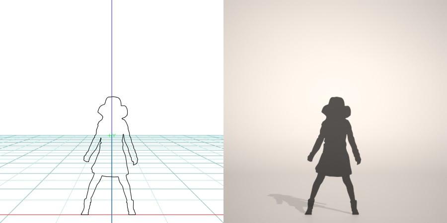formZ 3D シルエット silhouette 子供 child 少女 girl 帽子 hut スカート skirt