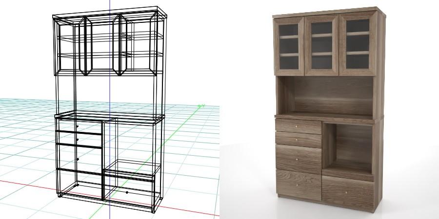 formZ 3D インテリア interior 家具 furniture キャビネット cabinet キッチンボード kitchen ダイニングボード dining カップボード cupboard 食器棚