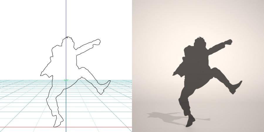 formZ 3D シルエット silhouette 男性 man ジャケット スーツ 背広 business suit はしゃぐ ガッツポーズ 跳ぶ ジャンプ jump 会社員 ビジネスマン businessman サラリーマン