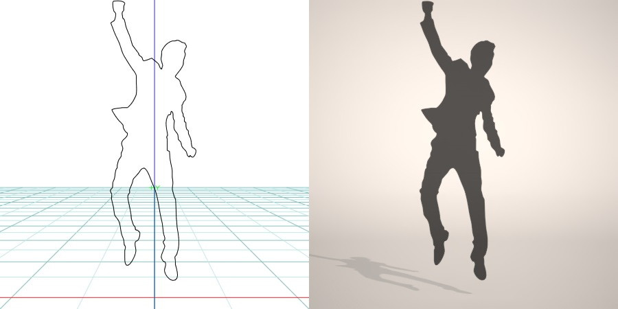 formZ 3D シルエット silhouette 男性 man ジャケット スーツ 背広 business suit 喜ぶ ガッツポーズ 跳ぶ ジャンプ jump 会社員 ビジネスマン businessman サラリーマン