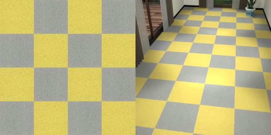 フリーデータ,2D,テクスチャー,texture,JPEG,タイルカーペット,tile,carpet,灰色,グレー,gray,黄色,イエロー,yellow,市松貼り,2色市松