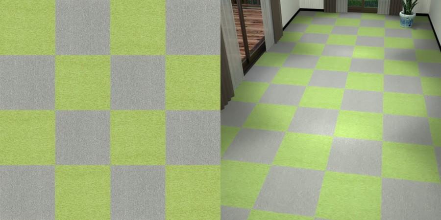 フリーデータ,2D,テクスチャー,texture,JPEG,タイルカーペット,tile,carpet,灰色,グレー,gray,緑色,グリーン,green,市松貼り,2色市松