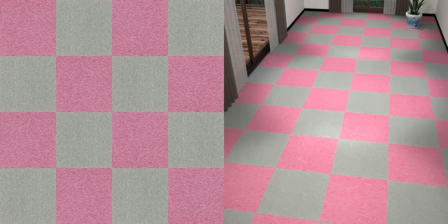 フリーデータ,2D,テクスチャー,texture,JPEG,タイルカーペット,tile,carpet,灰色,グレー,gray,ピンク色,pink,市松貼り,2色市松