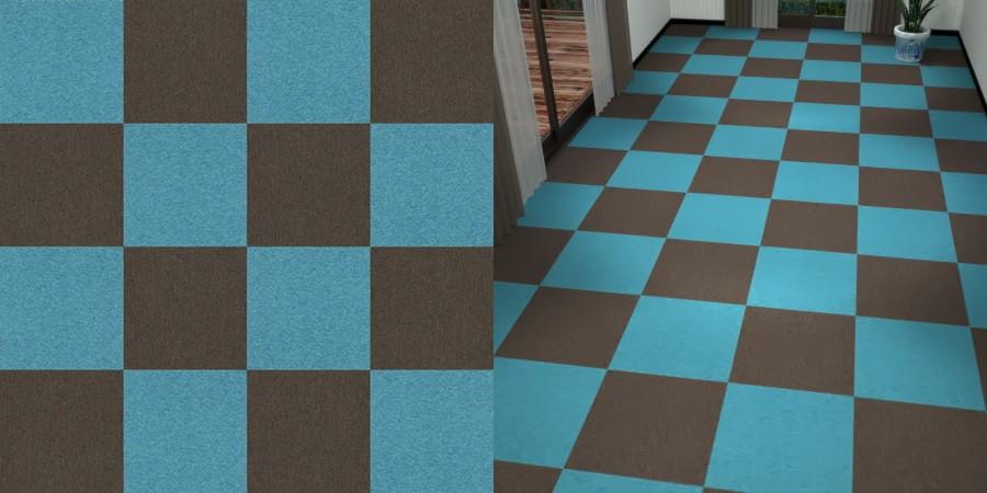 フリーデータ,2D,テクスチャー,texture,JPEG,タイルカーペット,tile,carpet,青色,ブルー,blue,茶色,ブラウン,brown,市松貼り,2色市松