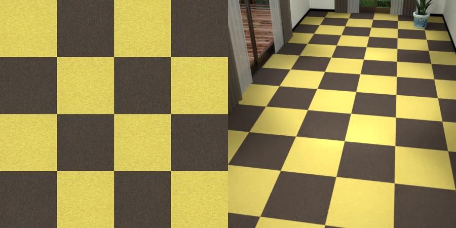 フリーデータ,2D,テクスチャー,texture,JPEG,タイルカーペット,tile,carpet,黄色,yellow,茶色,ブラウン,brown,市松貼り,2色市松