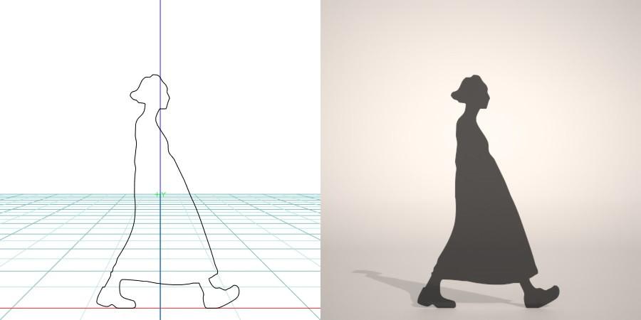 formZ 3D シルエット silhouette 女性 woman female lady スカート skirt 歩く