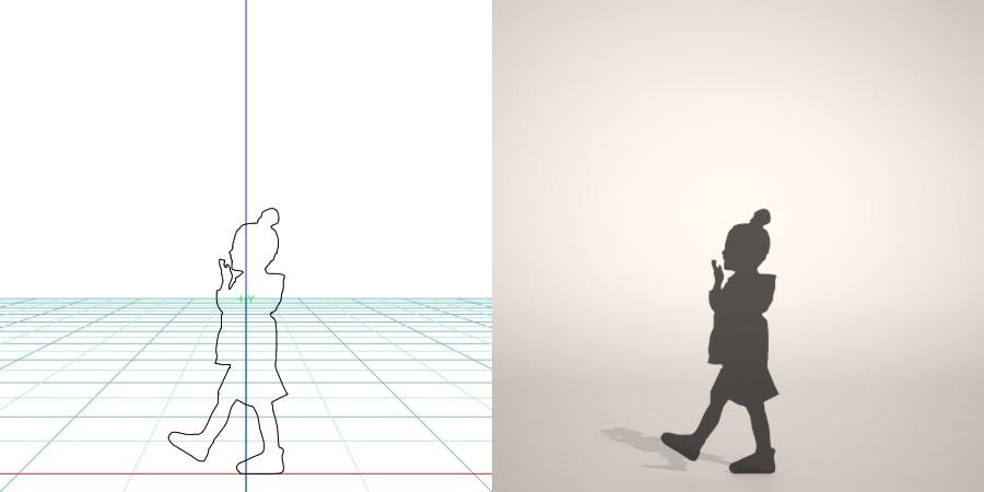 フリー素材 formZ 3D silhouette 子供 child 少女 girl お団子ヘアの女の子のシルエット