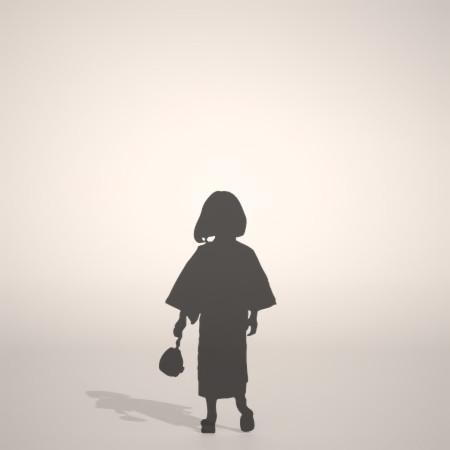 フリー素材 formZ 3D silhouette 子供 child 少女 girl 着物 和服 夏 祭り 浴衣を着た女の子のシルエット